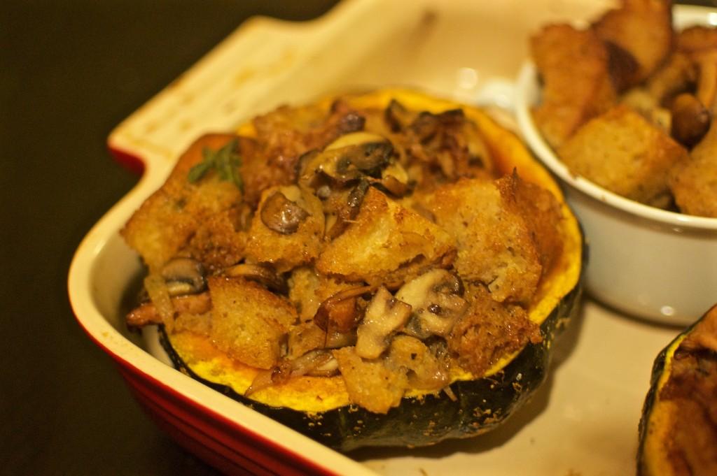 Nosherium Thanksgiving Mushroom Stuffing-Stuffed Kabocha Squash