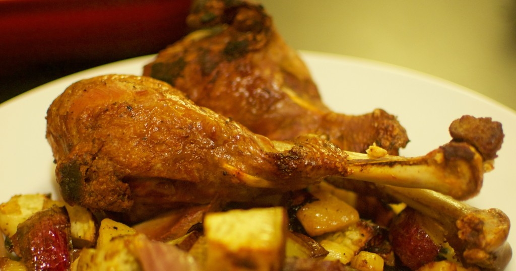 Exotic Spiced Thanksgiving Turkey Legs and Roasted Vegetables