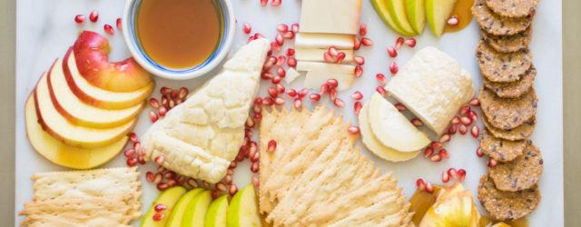 Nosherium Rosh HaShanah Cheese Board with Nude Bee Buckwheat Honey