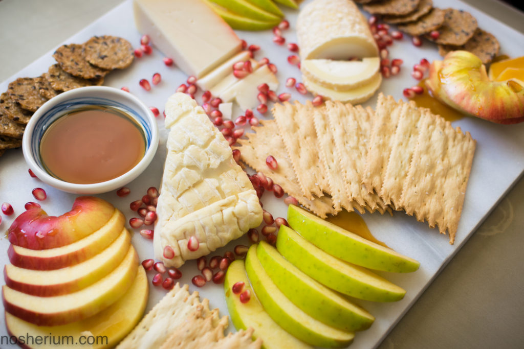Nosherium Rosh HaShanah Cheese Plate with Nude Bee Buckwheat Honey