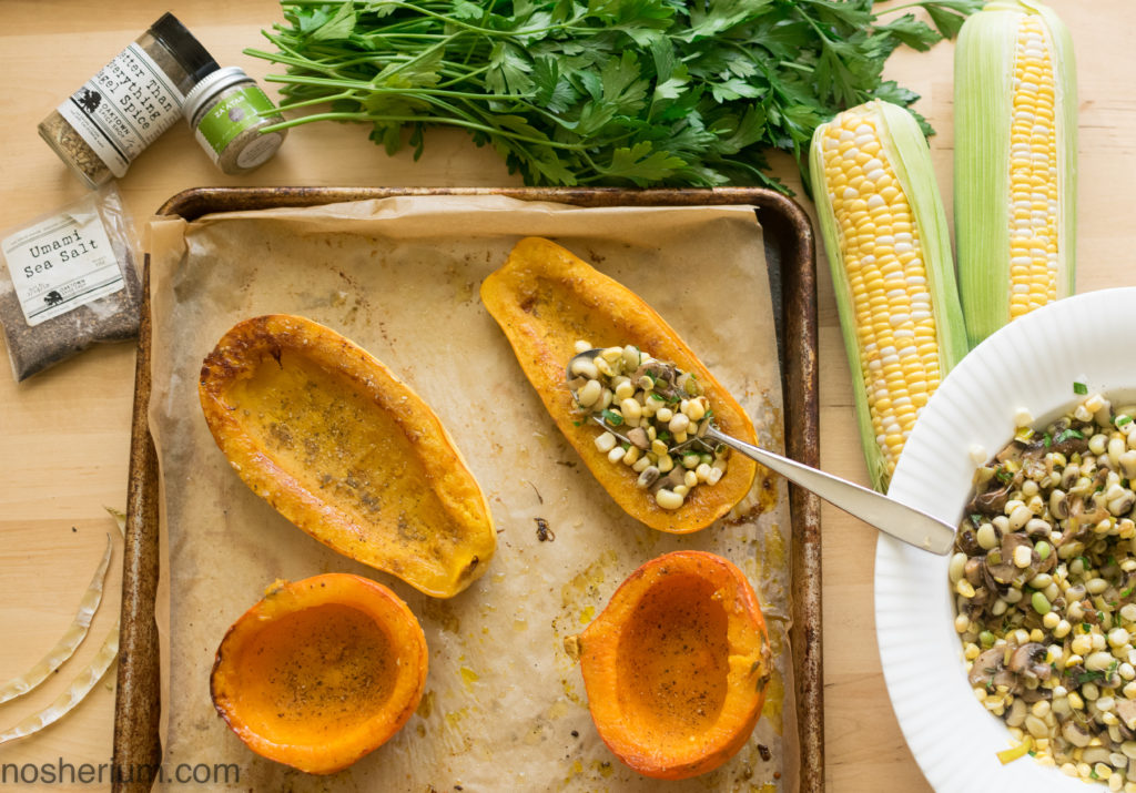Nosherium Rosh HaShanah stuffed squash with corn, beans, and mushrooms