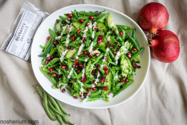 Nosherium Thanksgiving Pomegranate Barberry Green Beans - Vegan, dairy-free, easy