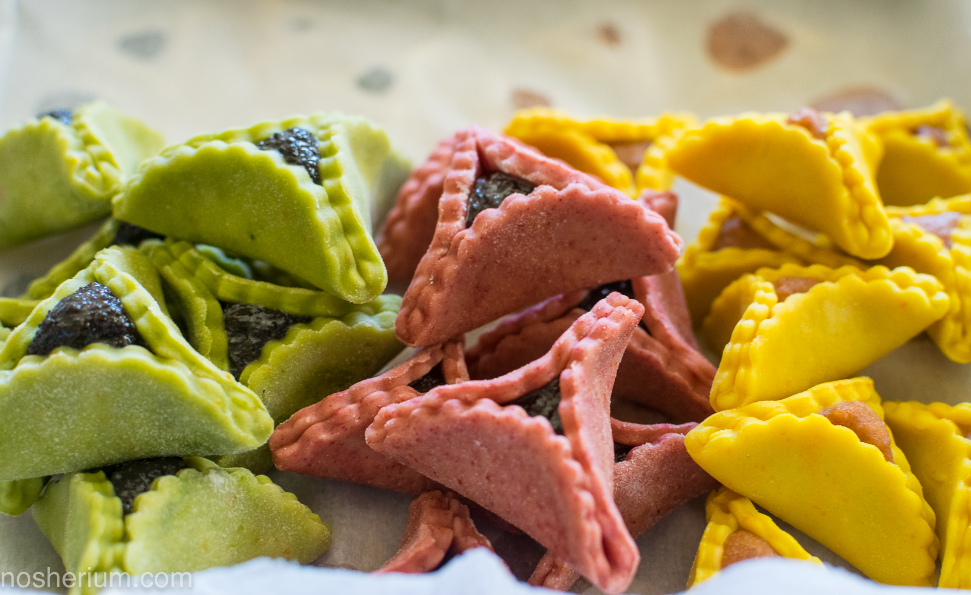 Nosherium Supernatural Colorful Hamantaschen Butter Cookies (2 of 9) - all natural dyes!