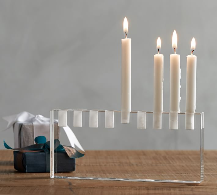 Nosherium Pottery Barn Hanukkah 2018 Clear Menorah Mini