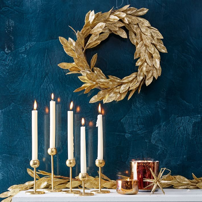 Nosherium West Elm Hanukkah 2018 kraft-glitter-leaves-wreath-gold-o