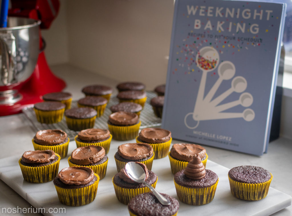 Nosherium Olive Oil Chocolate Cupcakes #WeeknightBakingBook Book Mixer