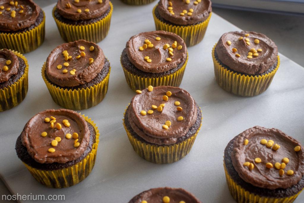 Nosherium Olive Oil Chocolate Cupcakes #WeeknightBakingBook Hanukkah Gold Coin Sprinkles