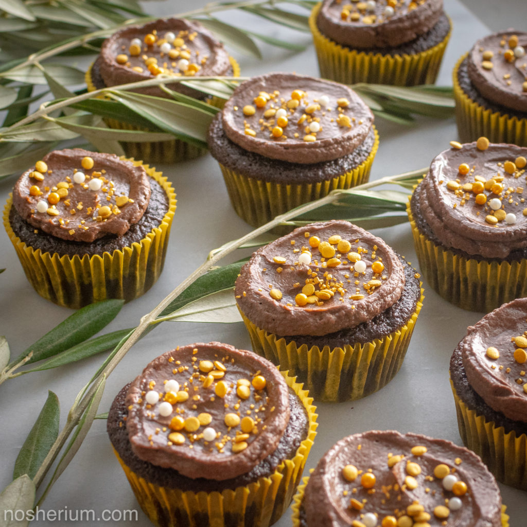Nosherium Olive Oil Chocolate Cupcakes #WeeknightBakingBook Hanukkah Olive Leaves and Gold