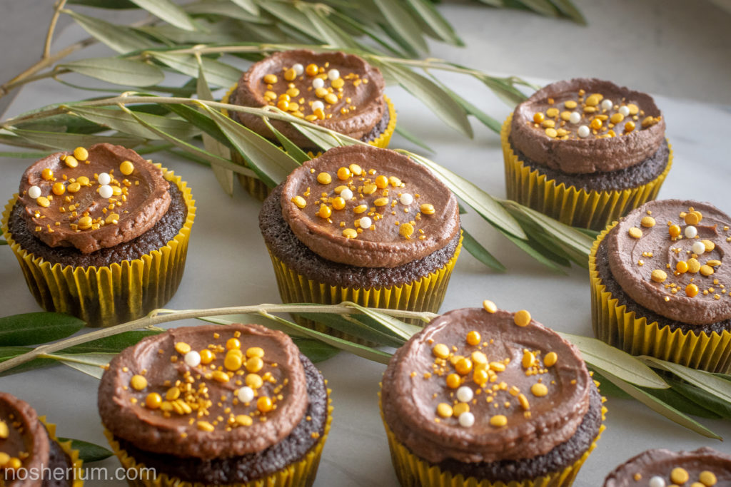 Nosherium Olive Oil Chocolate Cupcakes #WeeknightBakingBook Hanukkah Olive and Gold Decorations