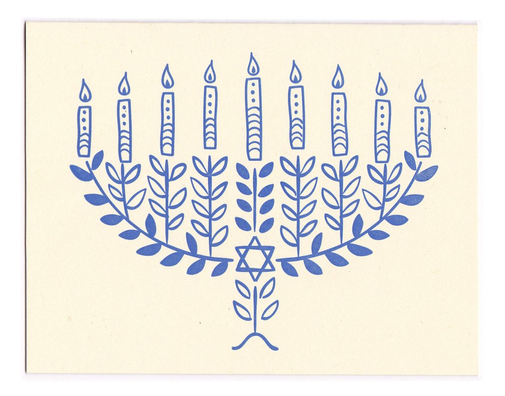 Morris Essex hand drawn blue Hanukkah card
